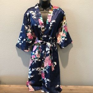 Other - Bridal Floral Navy Blue Silky-Like Robe